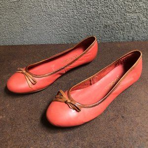 Anthropologie J Bloom Coral Leather Ballet Flats